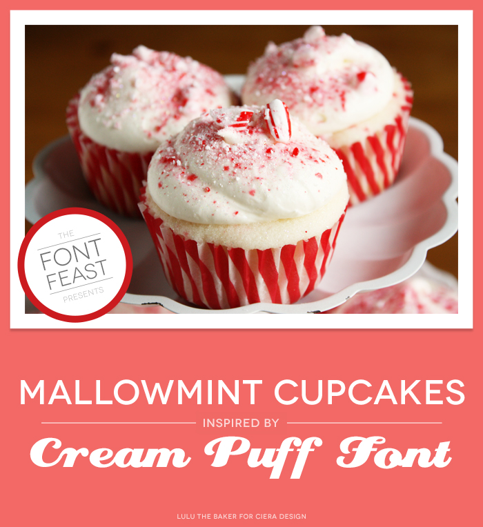Mallowmint Candycane Cupcakes on Cake Pedestal