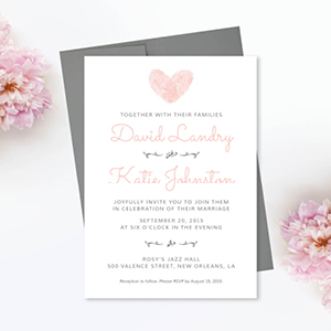 Heart Fingerprints Wedding Invitation Design