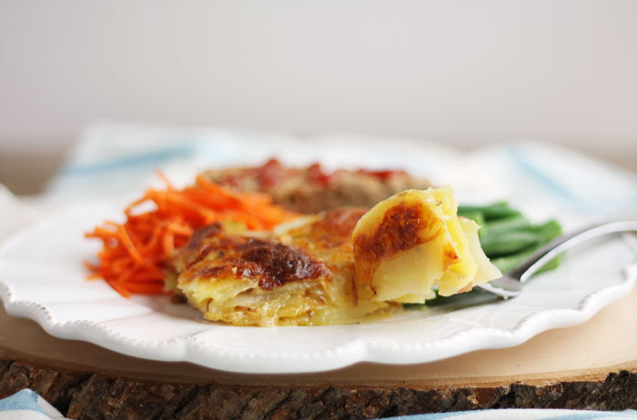 scalloped potatoes on plate