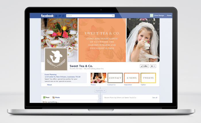 Sweet Tea Facebook Design on Macbook Pro