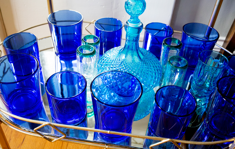 Blue Glassware Bar Cart
