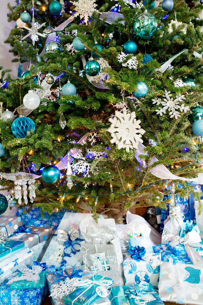 Blue Snowflake Christmas Tree Presents