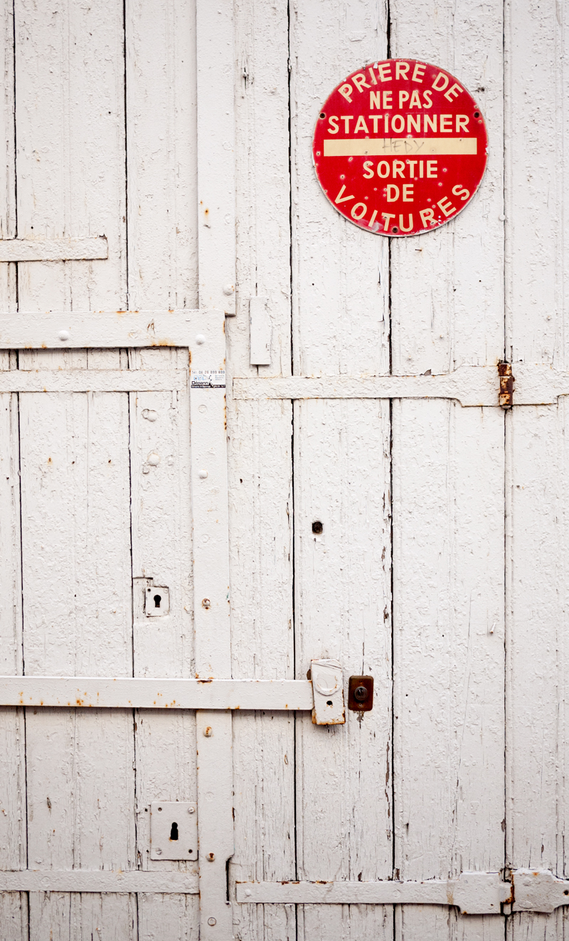 Textured Door and French Sign