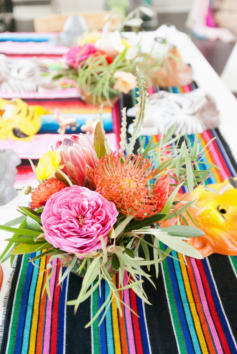 bright flowers at child fiesta party