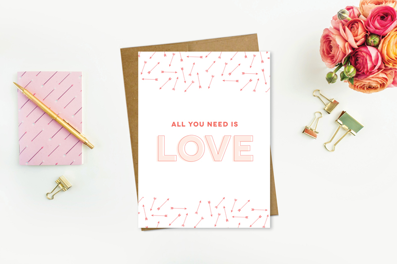 Greeting Card Featuring Modern Arrow and Love Type