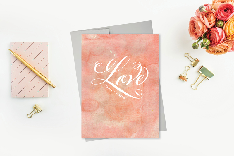 Greeting Card Featuring Watercolor and Script Love