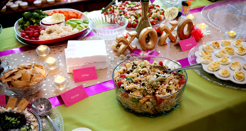 Table Spread at Tropical Bridal Shower