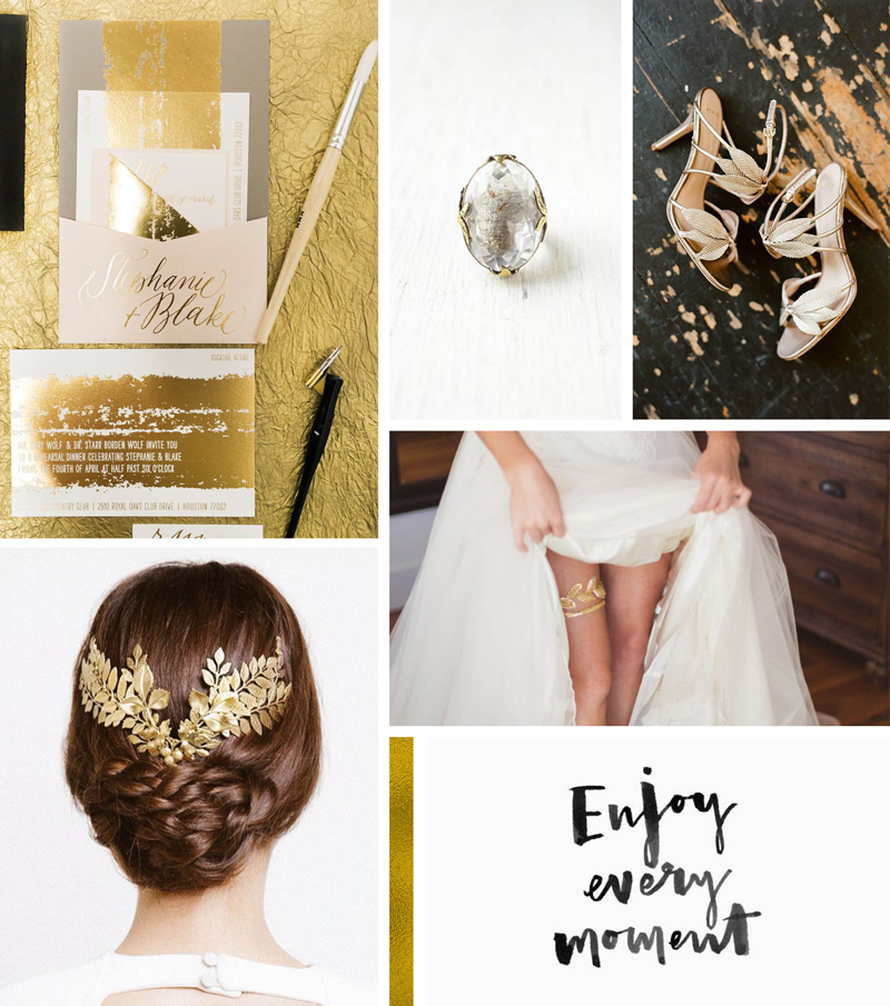 Black Gold White Wedding Event Company Moodboard