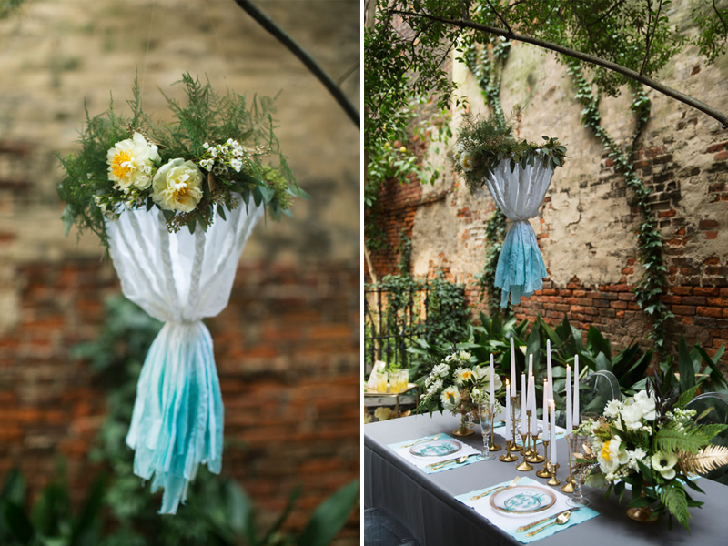 Dip-Dyed-Aqua-Gold-Wedding-Table-Chandelier