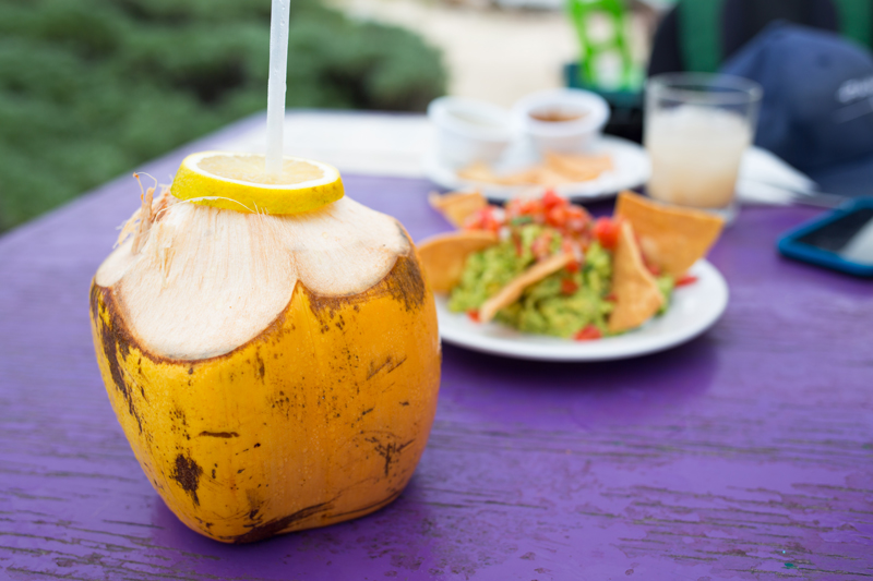 Coconut Drink and Guacomole