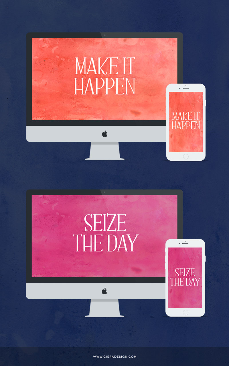 Click through to download these Inspirational desktop and iPhone wallpaper freebies from CieraDesign.com