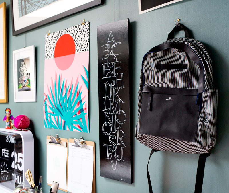 Add a backpack to your gallery wall for easy access and a unique touch!
