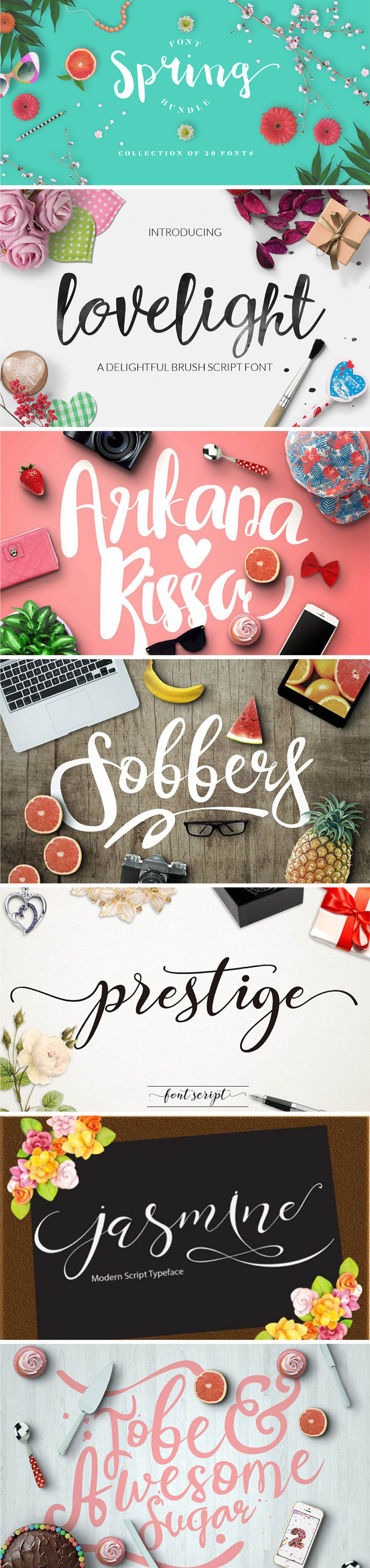 This gorgeous bundle of 20 fonts comes packed with beautiful typefaces worthy of any design work.